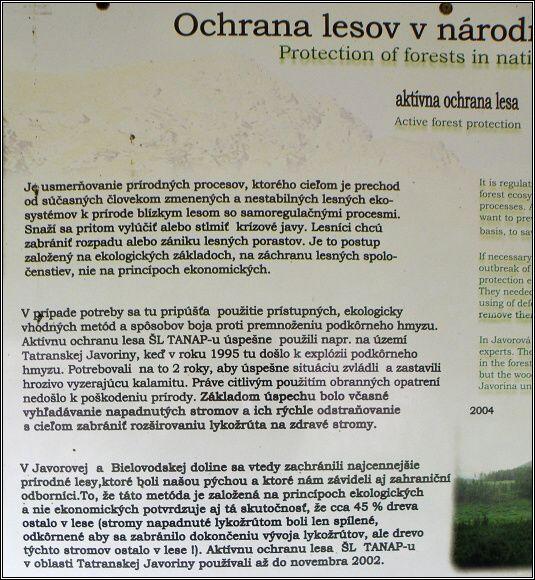 Tatry. Panel Naučného chodníku Zadné Meďodoly