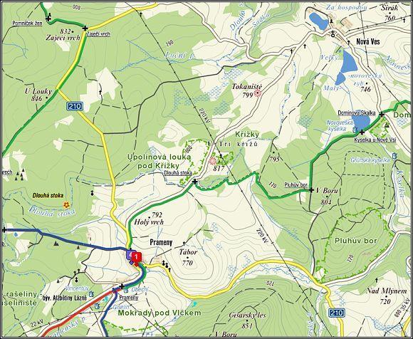 NPP Křížky a NPP Upolínová louka pod Křížky - mapa