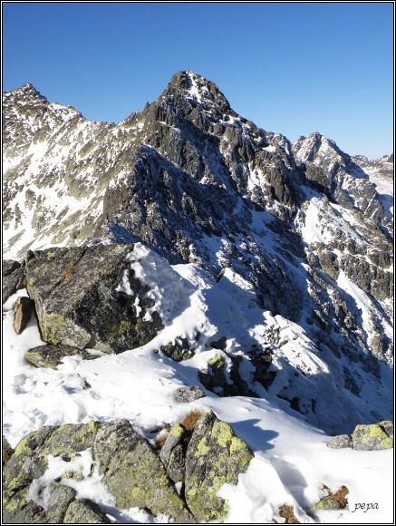 Vysoké Tatry. Poľský hrebeň, pohled na Velický štít