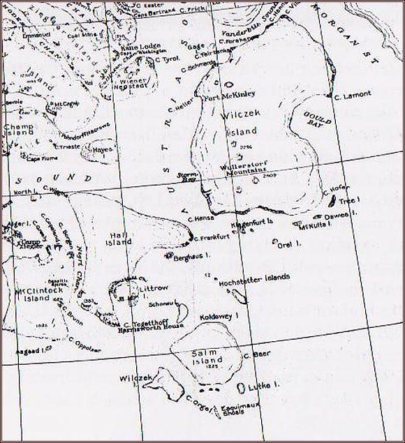 Země Františka Josefa. Oblast působení Payerovy první saňové výpravy