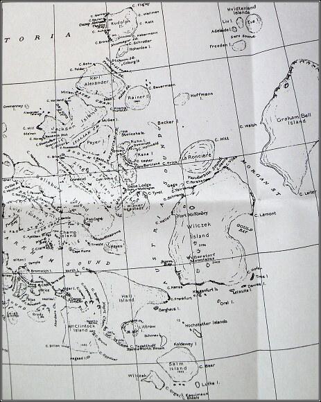 Země Františka Josefa, mapa z roku 1876. Oblast Payerovy druhé saňové výpravy