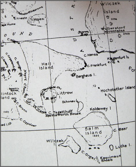 Země Františka Josefa, mapa z roku 1876. Oblast Payerovy druhé saňové výpravy - jižní úsek