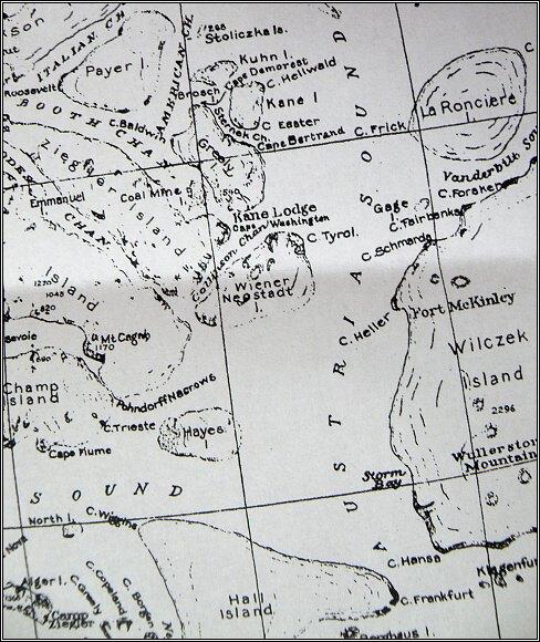 Země Františka Josefa, mapa z roku 1876. Oblast Payerovy druhé saňové výpravy - střední úsek