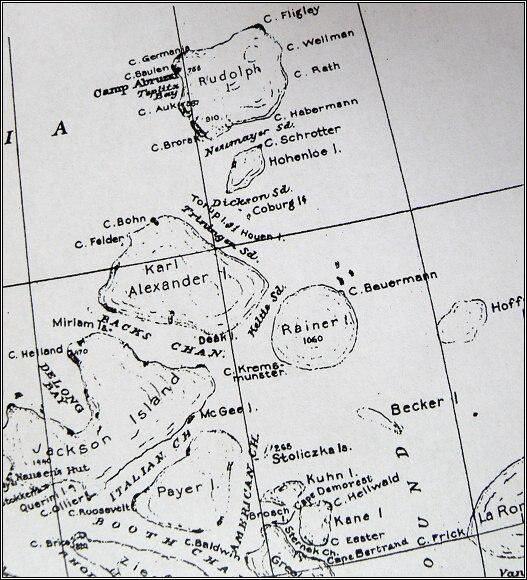 Země Františka Josefa, mapa z roku 1876. Oblast Payerovy druhé saňové výpravy - severní úsek