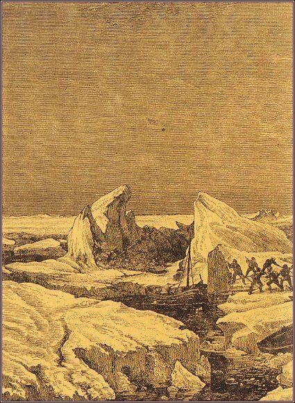 Odstrkávání ledu a převážení nákladu a člunů přes kru /Julius Payer/