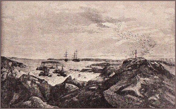 Připlouváme k ruským lodím v zátoce Prachového peří /Julius Payer/
