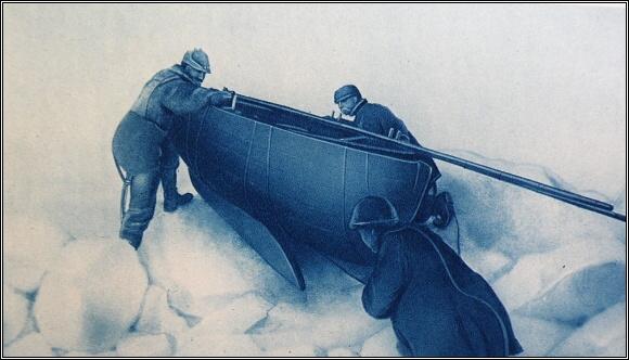 Přetahování sání s člunem přes ledové hrby