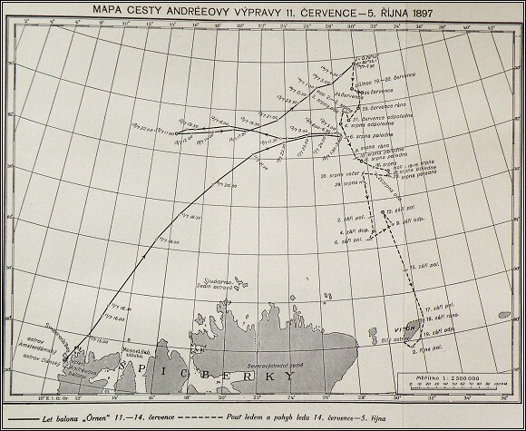 Mapa balónové a pěší části Andréeovy výpravy