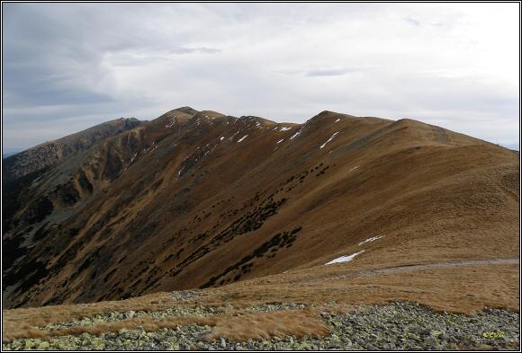 Nízké Tatry. Dereše a Chopok od Sedla Poľany