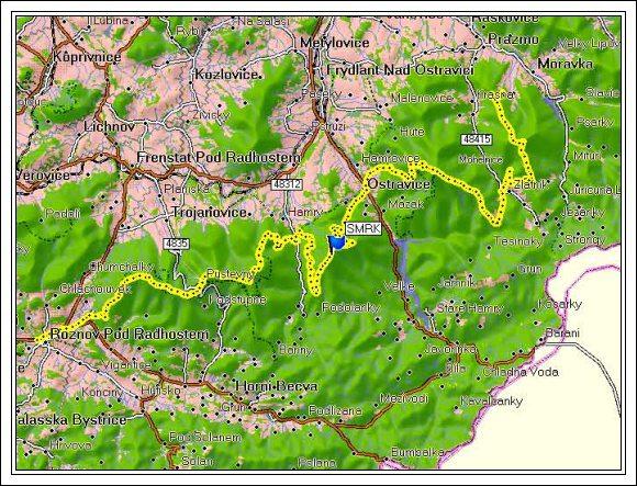 Trasa Hřebenem Moravskoslezských Beskyd