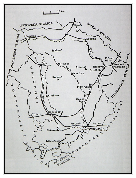 Mapa Gemerskej stolice a Malohontu
