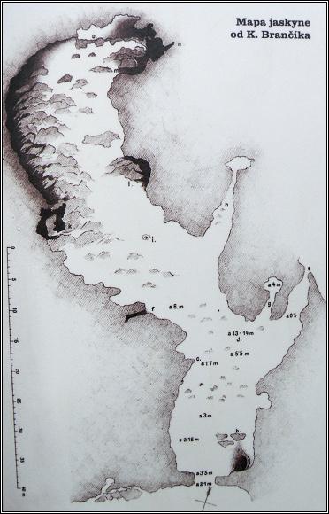 Pružinská dúpna jaskyňa. Plánek jeskynní chodby