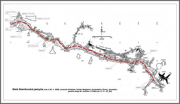 Plánek Malej Stanišovskej jaskyne