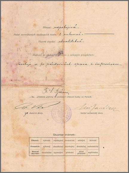 Alois Svozil, vysvědčení z Varhanické školy v Brně