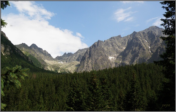 Vysoké Tatry. Masív Ľadového štítu z Javorové doliny