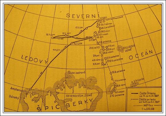 Trasa výpravy Salomona Augusta Andréeho