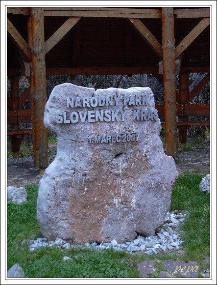 Národný park Slovenský kras. Symbolický základní kámen