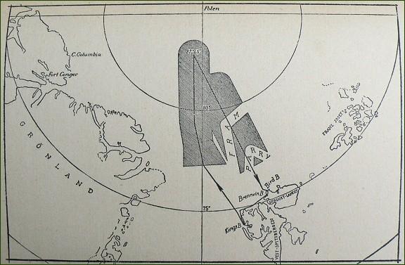 Let N 25. Na mapce je vyznačena část Arktidy, kterou výprava prozkoumala
