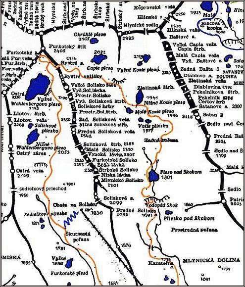 Soliskové sedlo, mapa