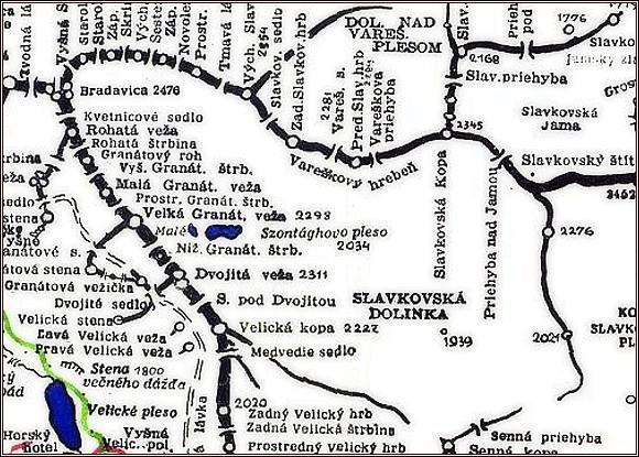 Sedlo pod Dvojitou vežou, mapa
