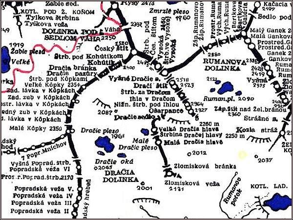 Dračie sedlo, mapa