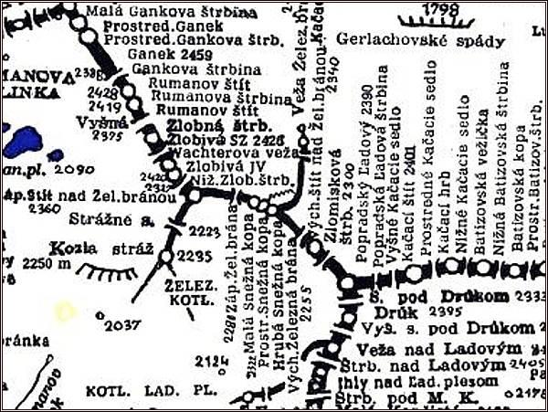 Zlomisková štrbina, mapa