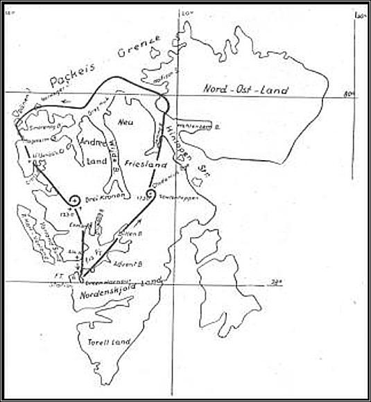 Mapka nejdelšího průzkumného letu výpravy Hammer - Junkersovy