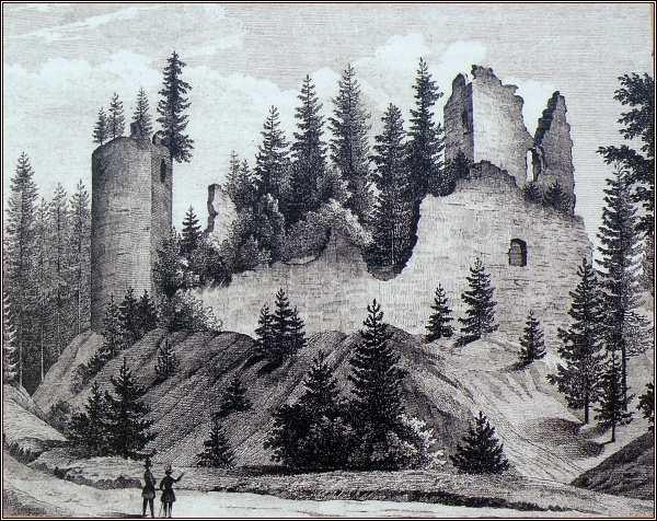 Zřícenina hradu na kresbě z roku 1846
