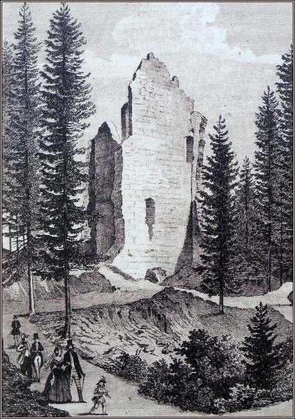 Zbytky obytného paláce na kresbě z roku 1846