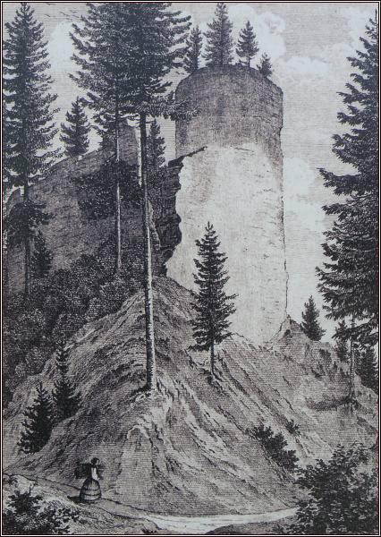 Zbytky věže na kresbě z roku 1846