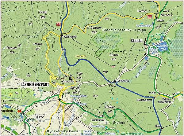 Mapa popsané oblasti a trasy
