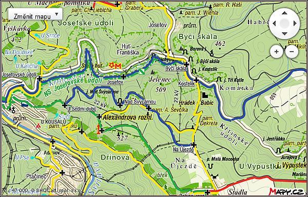 Křtinské a Josefovské údolí. Mapa