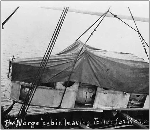 Velitelská kabina Norge je nakládána k převozu do Říma