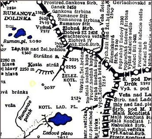 Západná Železná brána, mapa