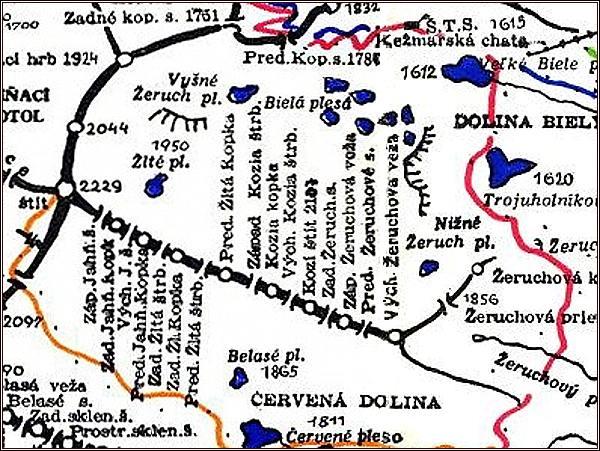 Predná Kozia štrbina, mapa