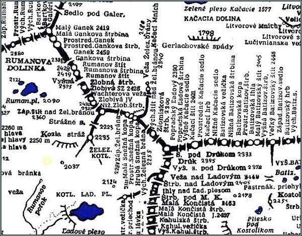 Snežné kopy, mapa