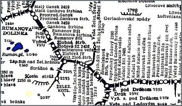 Východný Železný štít, mapa