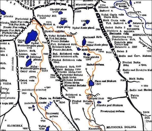 Predné Solisko, mapa