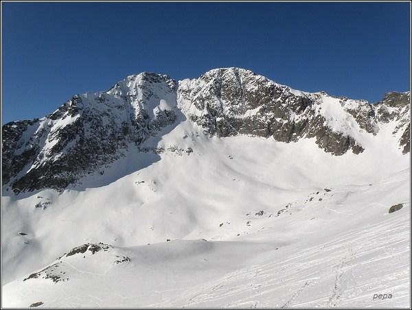 Ľadový štít a Malý Ľadový štít nad Malou Studenou dolinou
