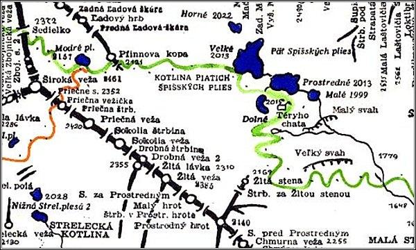 Žltá stena, mapa