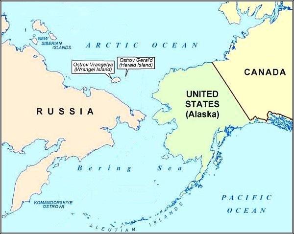 Wrangelův a Heraldův ostrov, mapa
