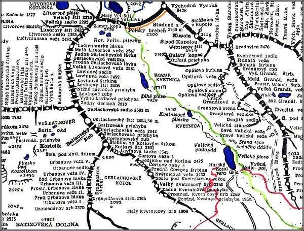 Gerlachovský štít, mapa