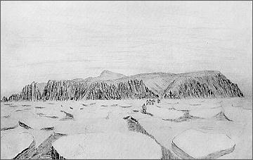Heraldův ostrov v dobové kresbě