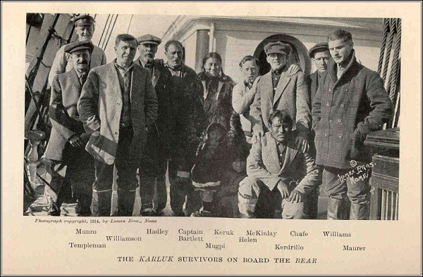 Fotografie těch, kteří na Kanadské arktické expedici přežili (na fotografii chybí Kataktovik)