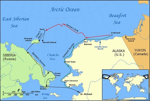 Mapa vyznačující plavbu Karluk, její drift, pěší pochod na Wrangelův ostrov a Bartlettovu cestu na pevninu