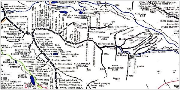 Slavkovský štít, mapa