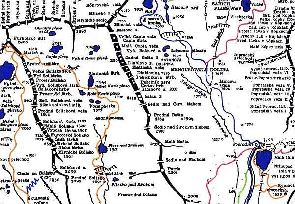 Čertov hrb, mapa
