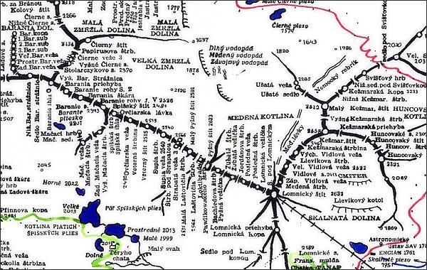 Baranie rohy, mapa
