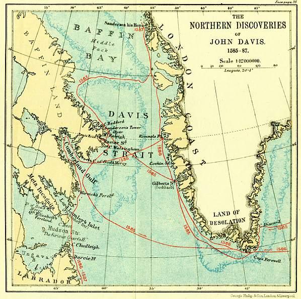 Mapa Davisových výprav