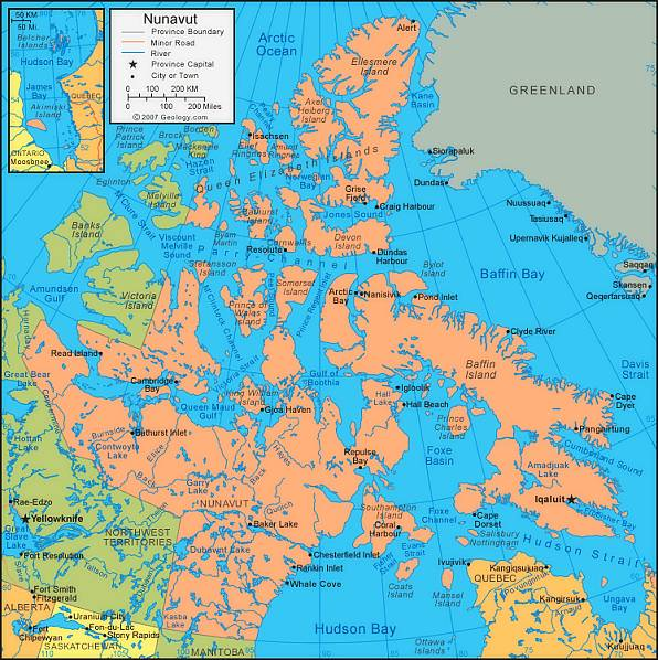 Kanadská Arktida, mapa